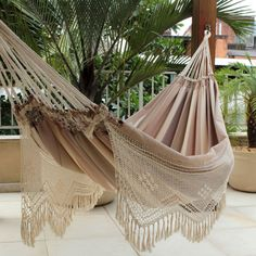 This cotton hammock promises a much deserved relaxation. It comes from Brazil's Hammock Artisans of Ceará and is finished with decorative hand-crocheted side panels. Outdoor Hammock, Hammock Chair, Hammock Stand, Swinging Chair, Outdoor Rooms, Outdoor Furniture, Hammocks, Hammock Ideas, Diy Hammock
