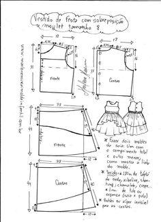 "Vestido manga copinho decote ""V"" nas costas - DIY- marlene mukai - molde infanti. Kids Dress Patterns, Baby Clothes Patterns, Baby Patterns, Clothing Patterns, Sewing For Kids, Baby Sewing, Sewing Clothes, Doll Clothes, Pattern Drafting"