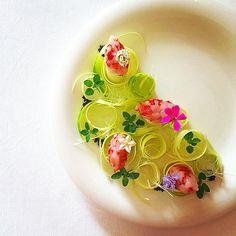 Tartar of red shrimps.Zucchini salad(Zucchini,leek,wild marjoram)and Hawaiian black salt. #gastroart #theartofplating #expertfoods #chefsofinstagram #gastro #shrimp #gamberirossi #wildchefs #wildherbs #chefstalk #zucchini #salad #marjoram #leek #flower #fiori #花 #エビ #ズッキーニ #ポロネギ #マジョラム #kresios #tadashitakayama #foodporn #fishlover #crudo