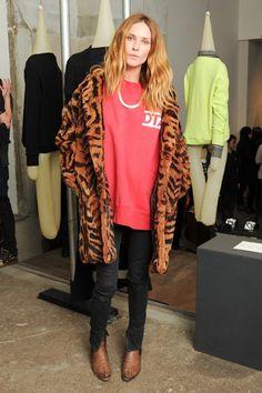 Faux fur jacket, red sweatshirt, gold chain