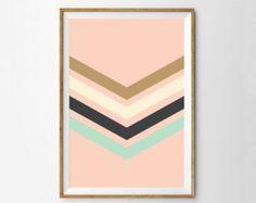 Nursery Art Print - Retro Nursery Disco Wall Art - Pink Mint Gold and Cream - Modern Pastel Poster - Girls Room - Boutique Art Print