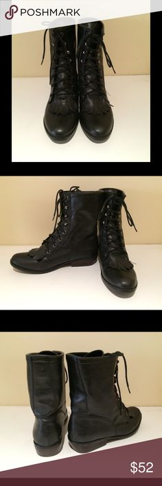 We Who See The Fringe boots 9 Black lace up boots featuring a fringe detail by the laces. Used but in very good condition. Size 9. We Who See Shoes Lace Up Boots