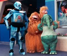 Major Domo, Idey and Ody and Hooter outside Captain EO in 1986 at Epcot