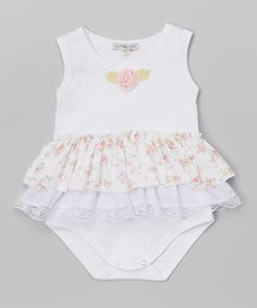 Look at this Victoria Kids White & Pink Flower Bodysuit - Infant on #zulily today!