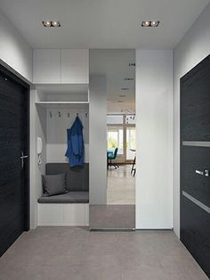This studio apartment makes a bold statement with strong colours and geometric patterns - Decor Pins Design Hall, Flur Design, House Entrance, Entrance Halls, Interior Design Living Room, Interior And Exterior, Hall Interior, Small Spaces, Bedroom Decor