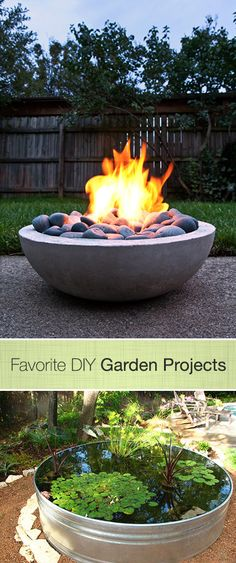 Including this fabulous Fire Pit project and this Water Garden project. Diy Fire Pit, Fire Pit Backyard, Backyard Fireplace, Fireplace Ideas, Diy Garden Projects, Outdoor Projects, Garden Ideas, Organic Gardening, Gardening Tips
