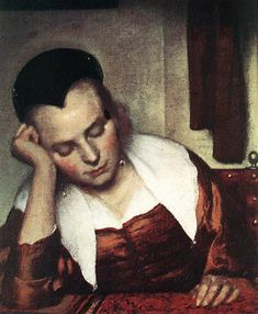 A Woman Asleep at Table [detail: 1] by Johannes Vermeer, Oil on canvas