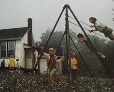 swinging was always on our list of things to do.lol - my dad built us the biggest swingset in the neighborhood - everyone came to play at my house! Old School House, School Days, Art School, Hello Photo, Country School, The 'burbs, Kids Swing, Go Outside, Life Is Beautiful