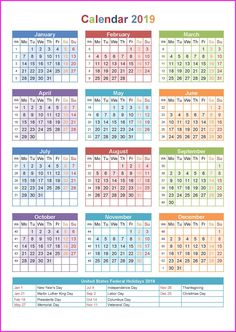 2019 year calendar by month yearly calendar 2019 pinterest