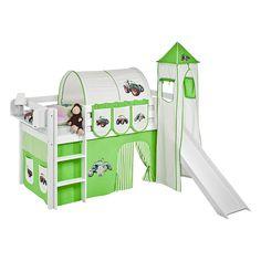 Spielbett JELLE Trecker Grün - Hochbett LILOKIDS - mit Turm und Rutsche und Vorhang - weiß, Lilokids Jetzt bestellen unter: https://moebel.ladendirekt.de/kinderzimmer/betten/hochbetten/?uid=e5a02022-2711-5d7b-b790-ad8a5ced20cf&utm_source=pinterest&utm_medium=pin&utm_campaign=boards #möbel #kinderzimmer #hochbetten #lilokids #teens #betten #kids