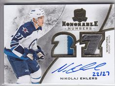 2015-16 UD THE CUP NIKOLAJ EHLERS AUTO PATCH 22 27 HONORABLE NUMBERS Jets 469859a8e