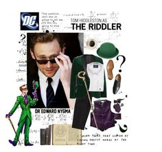 """""""Tom Hiddleston as The Riddler"""" by quinnella ❤ liked on Polyvore featuring BOSS Black, Van Heusen and Marvel Comics"""
