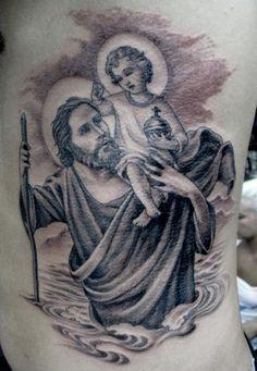 by Chris Garver St Christopher Tattoo, Saint Christopher, Baby Tattoos, Cool Tattoos, Tatoos, Saint Tattoo, Miami Ink, Mark Tattoo, Chris Garver