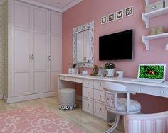 子供部屋 Pionerskaya str., project of the flat in Minsk 女の子の部屋 - 学習スペース リビング インテリア 海外 インテリア実例