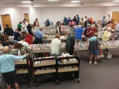 Book & Movie Sale 10-4 today, 10-2 Saturday - First-come, first-served! Here's the crowd at 10:20 today.