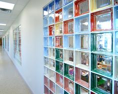 Colored glass blocks wall partition for use between stairwell and Erin's room. Would use only 2 or 3 colors at most.