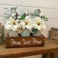 Magnolia flowers are a great way to add a little spring/ summer decor to your home Perfect gift flowers that last and can be personalized for a gift of its own Wood Box Centerpiece, Mason Jar Centerpieces, Mason Jar Projects, Mason Jar Crafts, Flowers In Jars, Gift Flowers, Send Flowers, Artificial Floral Arrangements, Flower Arrangements