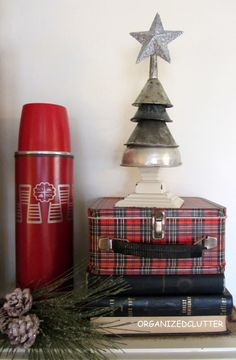 Oil funnel Christmas tree, by Organized Clutter featured on Funky Junk Interiors Christmas Style, Tartan Christmas, Christmas Time Is Here, Mini Christmas Tree, Christmas Mantels, Country Christmas, All Things Christmas, Vintage Christmas, Christmas Holidays