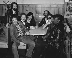 Photograph by Frank Stefanko. Left to Right: Gary Tallent, Bruce Springsteen, the late Danny Federici, Steven Van Zandt, Roy Bittan, Max Weinberg, and the late Clarence Clemens.