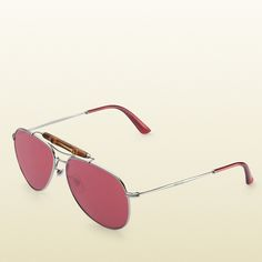 Gucci Aviator Sunglasses With Bamboo Detail