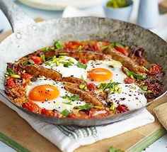 Bring some bold flavours into this brunch for two with harissa, sumac and pistachios - swap for chipolatas or chorizo if you prefer