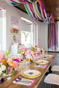 Guest tablescape from a Lisa Frank Inspired Rainbow Party on Kara's Party Ideas . - Guest tablescape from a Lisa Frank Inspired Rainbow Party on Kara's Party Ideas Lisa Frank, Birthday Bash, Birthday Parties, 30th Party, Birthday Celebration, Birthday Invitations, Ball Birthday, Birthday Table, Birthday Banners