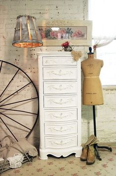 Painted Cottage Chic Shabby White Romantic by paintedcottages, $795.00
