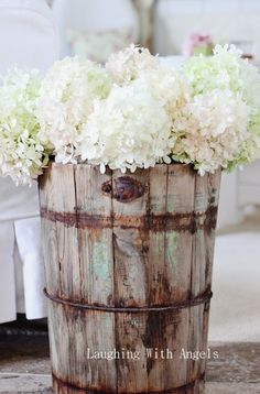 Love this old wooden ice cream bucket!