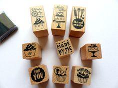Stempelset Stempel Made by me Backen Cupcakes  von frau zwerg auf DaWanda.com € 8,20