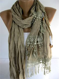 Elegant  Scarf with Lace Edge -Fashion Scarf-Scarf, shawl