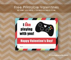 Free Printable Video Game Valentines by Amy Locurto at LivingLocurto.com