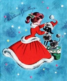 A young lady in a Christmas dress tries her hat on a black poodle in this scene from a vintage Christmas card.