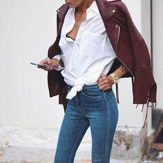 burgundy leather jacket + denim