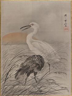 Kawanabe Kyōsai | Cranes in Marsh