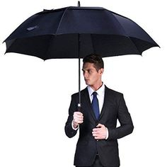 Color : Yellow AZZ Windproof Long Handle Business Umbrella,Very Strong Oversize Double Canopy Windproof Waterproof Large Stick Umbrellas,Protects Against Rain Wind Sun