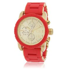 Diesel DZ5305 red Stainless Steel women's Watch.  This style features a light gold-tone stainless steel case with a silicone topring and sunray dial. A red silicone-wrapped stainless steel bracelet completes the look.