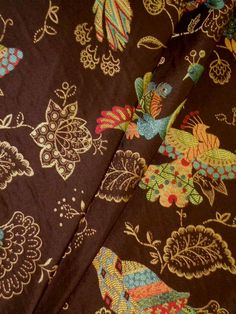 Chickadee Godiva Upholstery Fabric  color Chocolate, embroidered looking jacquard upholstery fabric, bright multicolor novelty birds on dark brown, Upholstery Fabric, very high end woven premium fabric for furniture upholstering and home décor  polyester  $49.95 retail  Our Sale Price: $18.95 per yard  You Save: $31.00 (62%) per yard  Compatible Styles, contemporary, mid-century modern, modern, traditional  limited quantity  #homedecor #upholsteryfabric #interiordecorating #railroadedstripes