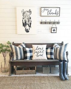 Isn\'t this space by the talented Laney @backroadsignco just beautiful!!  We all fell in love with this lovely and cozy bench and pillows not to mention all that gorgeous shiplap!! Sweet Laney is this weeks #showmetheshiplap winner! Thank you to all who shared your incredible shiplap photos with us. You all are truly inspiring me as we continue to work on shiplaping our basement. We start a new week tomorrow so please keep sharing your Shiplap photos with us! Have a wonderful night friends! ...