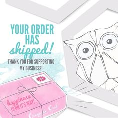 Your order has shipped! Thank you for supporting my business! Social media image #origamiowl #business #tools