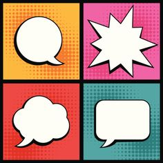 Illustration of Set of speech bubbles in pop art style. vector art, clipart and stock vectors. Chalkboard Designs, Chalkboard Art, Middle School Art, Art School, Fiesta Pop Art, Bd Pop Art, Pop Art Font, Pop Art Party, Classe D'art