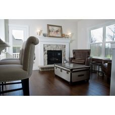 Petros Homes Cozy Hearth Room Off Kitchen With A Stone Fireplace And