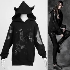 Alternative Black Hooded Emo Punk Sweatshirt Hoodies Clothes Women SKU-11401451
