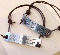Longitude Latitude Bracelets  Hand Stamped by BlueCornerCreasigns