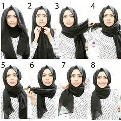 Simple hijab tutorial. Works well with wide rectangular shawls. Best styled with coats or loose tops.