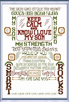 Lets Love our Sons 'Words' cross stitch pattern designed by Ursula Michael,