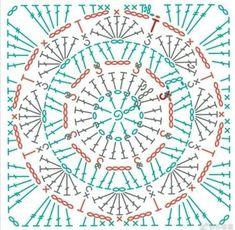 Crochet Doily Diagram, Crochet Mandala Pattern, Crochet Motifs, Crochet Blocks, Granny Square Crochet Pattern, Crochet Flower Patterns, Crochet Stitches Patterns, Crochet Chart, Crochet Squares