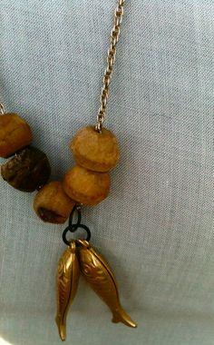 Fish Jewelry Gold Jewelry Wood Jewelry Vintage Jewelry by jekahart, $25.00