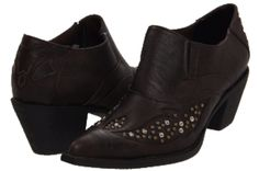 I love these but OMG are they painful. The heel is just a bit too high causing my wide toes to squish into the point. I wear them when I don't need to go far. VERY dark brown, studded, pleather