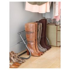 The Whitmor Four Pair Gunmetal Boot Stand is perfect for closets or any room in the home. The all metal frame construction has a durable gunmetal grey finish for any decor. Stores up to 4 pairs of boots. Boot Organization, Shoe Organizer, Vanity Organization, Boot Storage, Closet Storage, Scarf Storage, Purse Storage, Closet Shelves, Diy Storage