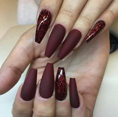 Deep red acrylics and glitter